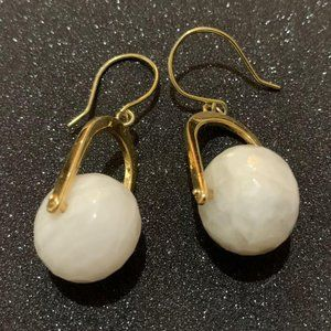 Gold & White Faceted Round Stone Drop Earrings